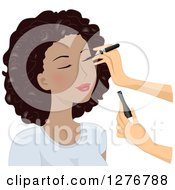 Clipart Of A White Womans Hands Applying Eyeliner On A Black Models Face Royalty Free Vector Illustration by BNP Design Studio