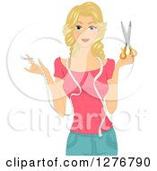 Happy Blond White Seamstress Woman Holding Scissors And A Measuring Ribbon