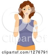 Clipart Of A Brunette White Woman Holding A Needle And Thread Royalty Free Vector Illustration