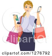 Clipart Of A Happy Blond White Woman Holding A Notepad Smart Phone And Shopping Bags Royalty Free Vector Illustration