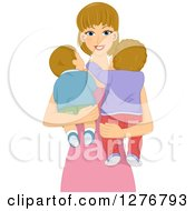 Clipart Of A Happy Dirty Blond White Mother Or Babysitter Holding Her Babies Royalty Free Vector Illustration
