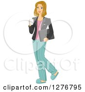 Clipart Of A Dirty Blond White Woman Half Dressed For Work Holding A Cup Of Coffee Royalty Free Vector Illustration