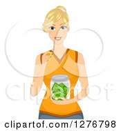Clipart Of A Blond White Woman Holding A Jar Of Money Royalty Free Vector Illustration
