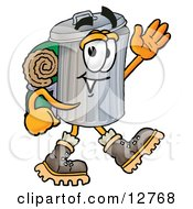 Garbage Can Mascot Cartoon Character Hiking And Carrying A Backpack