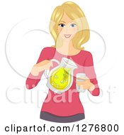 Clipart Of A Happy Blond White Woman Pouring Lemonade Royalty Free Vector Illustration