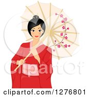 Clipart Of A Beautiful Asian Woman In A Red Kimono Holding A Parasol Royalty Free Vector Illustration