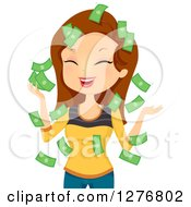 Clipart Of A Laughing Brunette White Woman With Falling Money Royalty Free Vector Illustration by BNP Design Studio