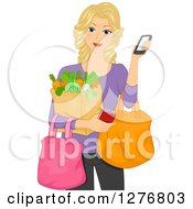 Clipart Of A Happy Blond White Woman Using Her Smart Phone To Do Grocery Shopping Royalty Free Vector Illustration
