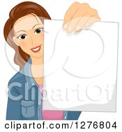 Clipart Of A Young Brunette White Woman Holding Out A Blank Piece Of Paper Royalty Free Vector Illustration