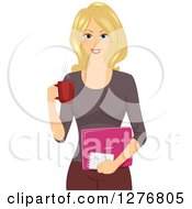 Clipart Of A Happy Blond Female Blogger Holding A Cup Of Coffee And A Pink Laptop Royalty Free Vector Illustration