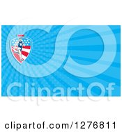Clipart Of A Retro American Marathon Runner And Blue Rays Business Card Design Royalty Free Illustration