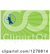 Clipart Of A Retro Male Tennis Player And Green Rays Business Card Design Royalty Free Illustration by patrimonio