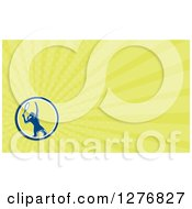 Clipart Of A Retro Female Tennis Player And Yellow Rays Business Card Design Royalty Free Illustration by patrimonio