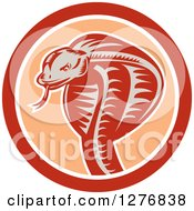 Clipart Of A Retro Woodcut Cobra Snake In An Orange And White Circle Royalty Free Vector Illustration by patrimonio