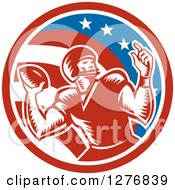 Clipart Of A Retro Woodcut Male Quarterback Player Throwing In An American Circle Royalty Free Vector Illustration