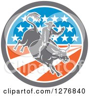 Clipart Of A Retro Woodcut Male Rodeo Cowboy On A Bucking Bull In An American Flag Circle Royalty Free Vector Illustration
