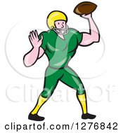 Clipart Of A Full Length Cartoon Male Caucasian Football Player Quarterback With A Ball Royalty Free Vector Illustration