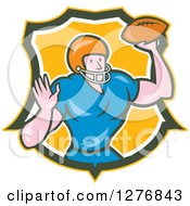 Clipart Of A Cartoon Male Caucasian Football Player Quarterback With A Ball In A Yellow Green And White Shield Royalty Free Vector Illustration