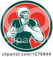 Clipart Of A Retro Male Caucasian Football Player Runningback With A Ball In A Green White And Red Circle Royalty Free Vector Illustration
