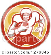 Clipart Of A Retro Male Caucasian Football Player Runningback With A Ball In A Taupe Orange White And Yellow Circle Royalty Free Vector Illustration
