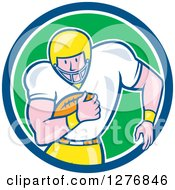 Clipart Of A Cartoon Caucasian Male Football Player Fullback With A Ball In A Blue White And Green Circle Royalty Free Vector Illustration