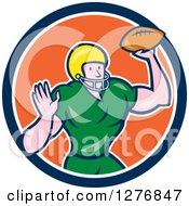 Clipart Of A Cartoon Male Caucasian Football Player Quarterback With A Ball In A Blue White And Orange Circle Royalty Free Vector Illustration