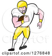Clipart Of A Cartoon Full Length Caucasian Football Player Fullback With A Ball Royalty Free Vector Illustration