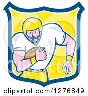 Clipart Of A Cartoon Caucasian Male Football Player Fullback With A Ball In A Blue White And Yellow Shield Royalty Free Vector Illustration