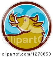 Clipart Of A Cartoon Wild Razorback Boar Pig In A Taupe Brown White And Blue Circle Royalty Free Vector Illustration by patrimonio