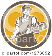 Clipart Of A Retro Male Plumber Holding A Large Monkey Wrench In A Brown White And Yellow Circle Royalty Free Vector Illustration