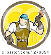 Clipart Of A Retro Cartoon Male Plumber Holding A Monkey Wrench In A Brown White And Yellow Circle Royalty Free Vector Illustration