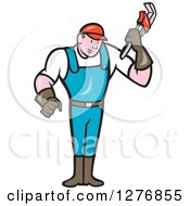 Poster, Art Print Of Full Length Retro Cartoon Male Plumber Holding A Monkey Wrench