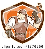 Poster, Art Print Of Retro Cartoon Male Plumber Holding A Monkey Wrench In A Tan Brown White And Orange Shield