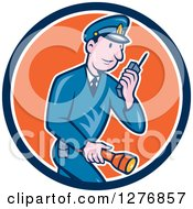 Clipart Of A Retro Cartoon Police Man Talking On A Walkie Talkie And Holding A Flashlight In A Blue White And Orange Circle Royalty Free Vector Illustration by patrimonio
