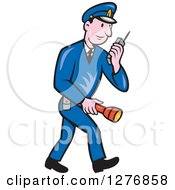 Clipart Of A Retro Full Length Cartoon Police Man Talking On A Walkie Talkie And Holding A Flashlight Royalty Free Vector Illustration by patrimonio