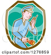 Clipart Of A Retro Cartoon Police Man Talking On A Walkie Talkie And Holding A Flashlight In A Brown White And Turquoise Shield Royalty Free Vector Illustration