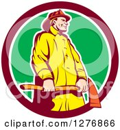Clipart Of A Retro Fireman Holding An Axe In A Maroon White And Green Circle Royalty Free Vector Illustration