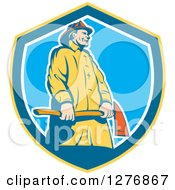 Clipart Of A Retro Fireman Holding An Axe In A Yellow Blue And White Shield Royalty Free Vector Illustration