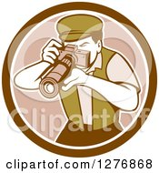 Clipart Of A Retro Male Photographer Taking Pictures In A Brown And White Circle Royalty Free Vector Illustration
