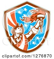 Clipart Of A Retro Male American Patriot With A Torch In A Patriotic Shield Royalty Free Vector Illustration by patrimonio