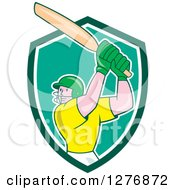 Clipart Of A Cartoon Cricket Batsman Player In A Green And White Shield Royalty Free Vector Illustration