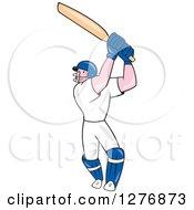 Clipart Of A Cartoon Full Length Cricket Batsman Player Royalty Free Vector Illustration