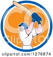 Clipart Of A Cartoon Cricket Batsman Player In A Blue White And Orange Circle Royalty Free Vector Illustration