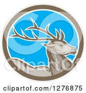 Clipart Of A Retro Buck Deer In A Taupe White And Blue Oval Royalty Free Vector Illustration by patrimonio