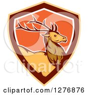 Clipart Of A Retro Buck Deer In A Brown Orange And White Shield Royalty Free Vector Illustration