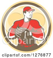 Clipart Of A Retro Male Baseball Catcher With His Hand In His Glove In A Yellow Brown And White Circle Royalty Free Vector Illustration