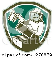 Clipart Of A Retro Male Beekeeper Smoking Out A Hive Box In A Green And White Shield Royalty Free Vector Illustration by patrimonio