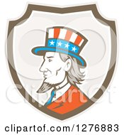 Clipart Of A Retro Profiled American Uncle Sam In A Taupe White And Brown Shield Royalty Free Vector Illustration