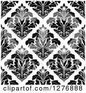 Clipart Of A Seamless Patterned Background Of Black Floral Damask On White 3 Royalty Free Vector Illustration