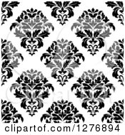 Clipart Of A Seamless Patterned Background Of Black Floral Damask On White Royalty Free Vector Illustration